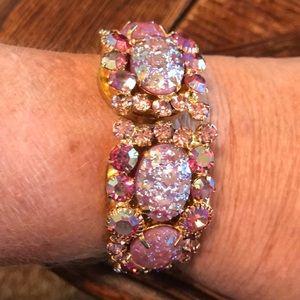 Pink AB rhinestone clamper bracelet
